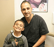 Ramsin Davoud with kid Patient